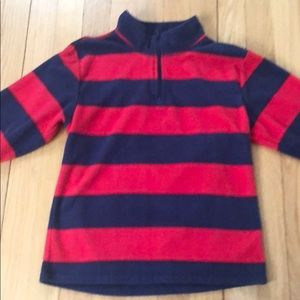 Kids navy and red striped half zip sweatshirt